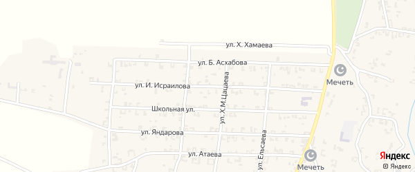 Улица И.Исраилова на карте села Мартан-Чу с номерами домов