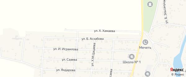 Улица Б.М.Асхабова на карте села Мартан-Чу с номерами домов
