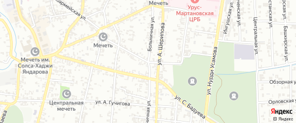 Больничная улица на карте Урус-мартана с номерами домов