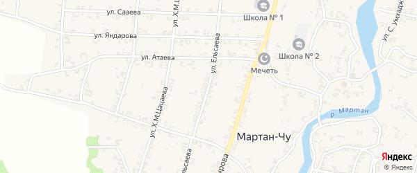 Улица Л-А.А.Ельсаева на карте села Мартан-Чу с номерами домов