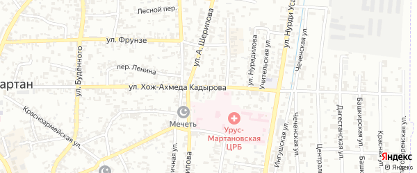 Улица Хож-Ахмеда Кадырова на карте Урус-мартана с номерами домов