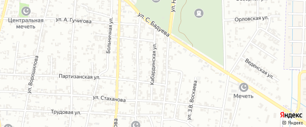 Кабардинская улица на карте Урус-мартана с номерами домов