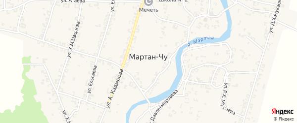 Улица А.Х.Адаева на карте села Мартан-Чу с номерами домов
