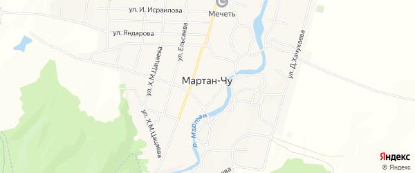 Карта села Мартан-Чу в Чечне с улицами и номерами домов