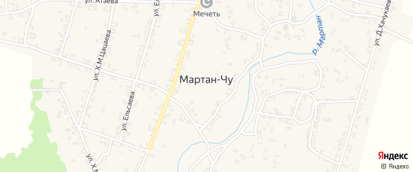 Улица Б.Эльсанукаева на карте села Мартан-Чу с номерами домов