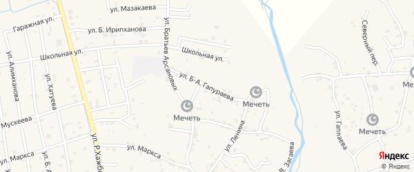 Улица Б-А.Гапураева на карте села Алхан-Юрт с номерами домов