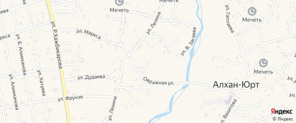 Овражная улица на карте села Алхан-Юрт с номерами домов