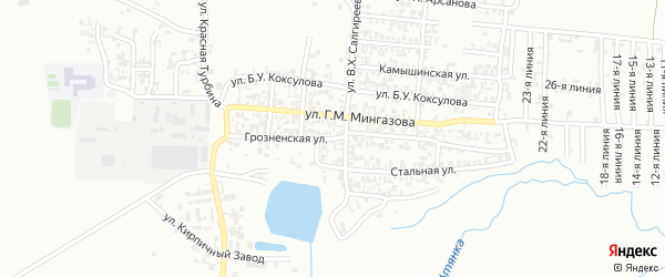 Грозненская улица на карте Грозного с номерами домов