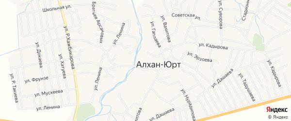 Карта села Алхан-Юрт в Чечне с улицами и номерами домов