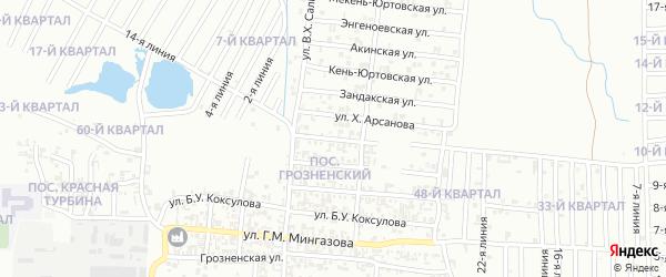 Трансмашевская улица на карте Грозного с номерами домов