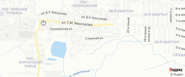 Стальная улица на карте Грозного с номерами домов