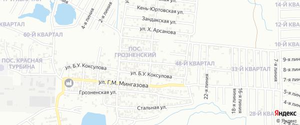 Карьерный переулок на карте Грозного с номерами домов