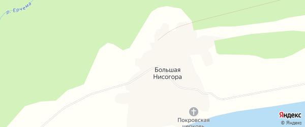 Карта деревни Большей Нисогоры в Архангельской области с улицами и номерами домов