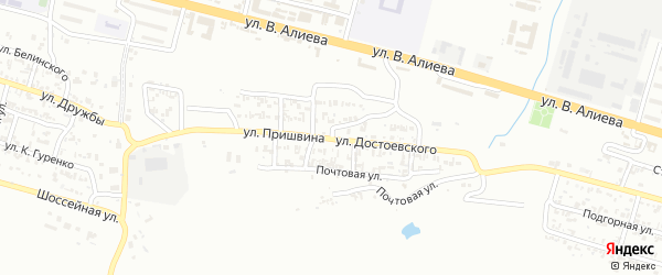 Улица им Достоевского на карте Грозного с номерами домов