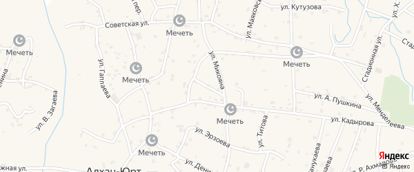 Улица им Ворошилова на карте Грозного с номерами домов