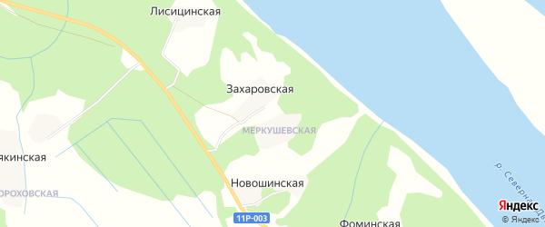 Карта Захаровской деревни в Архангельской области с улицами и номерами домов