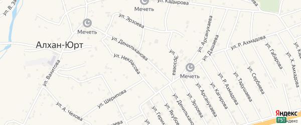 Улица Денильханова на карте села Алхан-Юрт с номерами домов