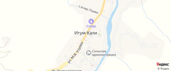 Переулок 1-й М.Я.Узуева на карте села Итум-Кали с номерами домов