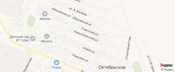 Комсомольская улица на карте Октябрьского села с номерами домов