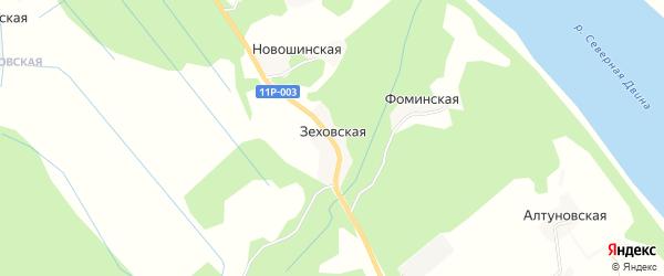 Карта Зеховской деревни в Архангельской области с улицами и номерами домов