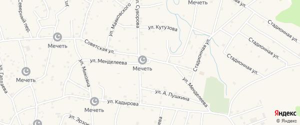 Улица Менделеева на карте села Алхан-Юрт с номерами домов