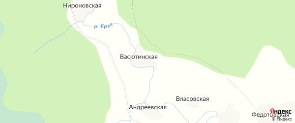 Карта Васютинской деревни в Архангельской области с улицами и номерами домов