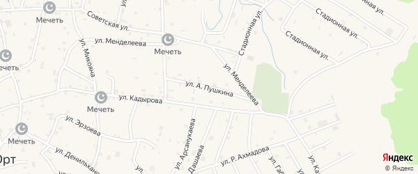 Улица Пушкина на карте села Алхан-Юрт с номерами домов