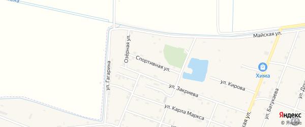 Спортивная улица на карте Новотерского села с номерами домов