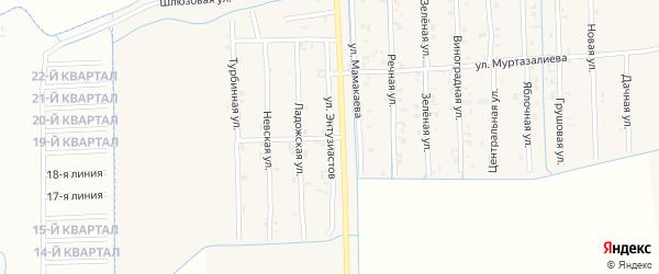 Улица Энтузиастов на карте Садового села с номерами домов