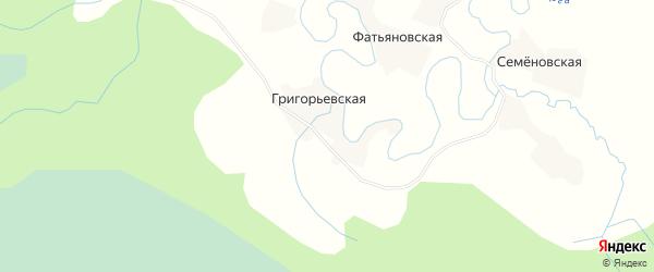 Карта Григорьевской деревни в Архангельской области с улицами и номерами домов