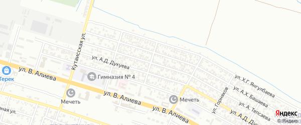 Улица Допризывников на карте Грозного с номерами домов