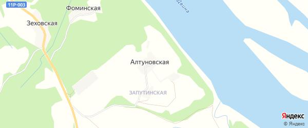 Карта Алтуновской деревни в Архангельской области с улицами и номерами домов