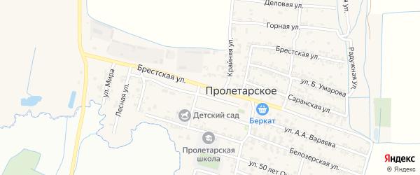Брестская улица на карте Пролетарского села с номерами домов
