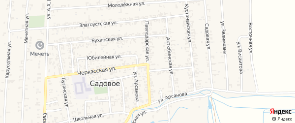 Павлодарская улица на карте Садового села с номерами домов