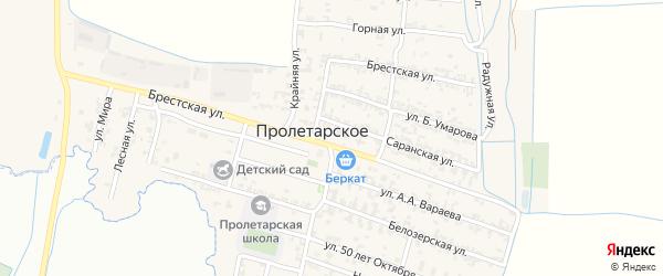 Улица Б.Умарова на карте Пролетарского села с номерами домов