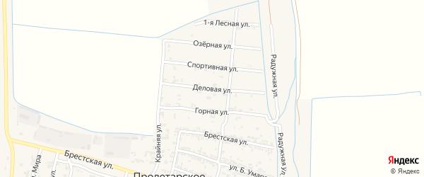 Деловая улица на карте Пролетарского села с номерами домов