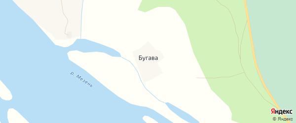 Карта деревни Бугавы в Архангельской области с улицами и номерами домов