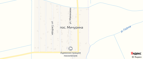 Западная улица на карте поселка Мичурина с номерами домов