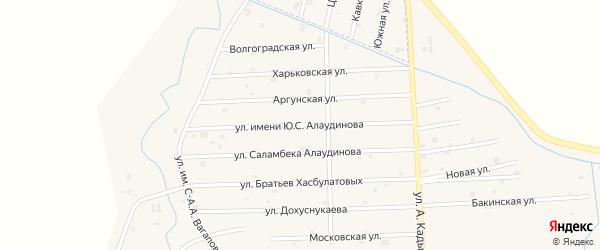 Улица им Ю.С.Алаудинова на карте села Гой-чу с номерами домов