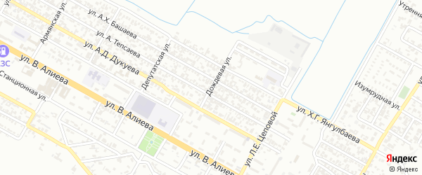 Дождевой переулок на карте Грозного с номерами домов