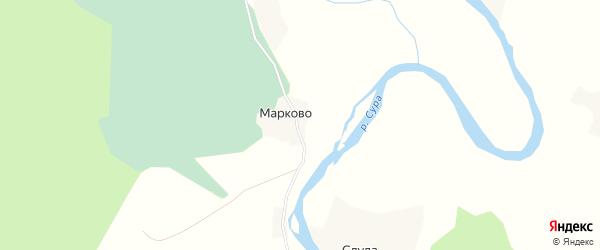 Карта деревни Марково в Архангельской области с улицами и номерами домов