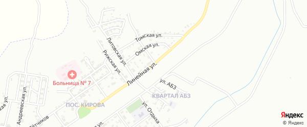 Линейная улица на карте Грозного с номерами домов