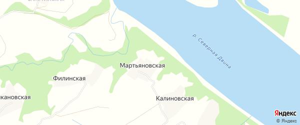 Карта Мартьяновской деревни в Архангельской области с улицами и номерами домов