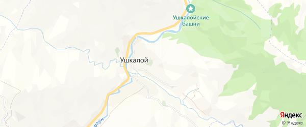 Карта села Ушкалого в Чечне с улицами и номерами домов