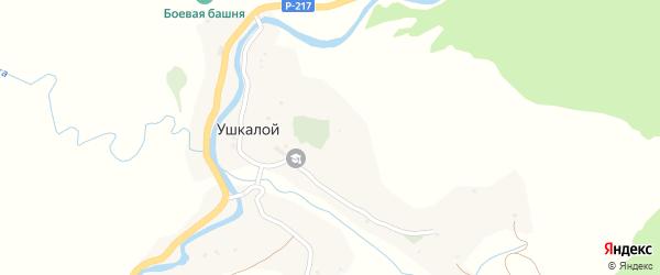 Мюже-Келхароевская улица на карте села Ушкалого с номерами домов