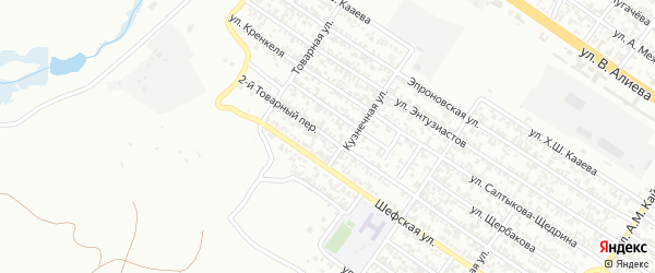 Товарный 2-й переулок на карте Грозного с номерами домов