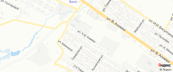 Улица Хасана Кааева на карте Грозного с номерами домов
