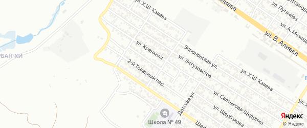 Товарный 1-й переулок на карте Грозного с номерами домов