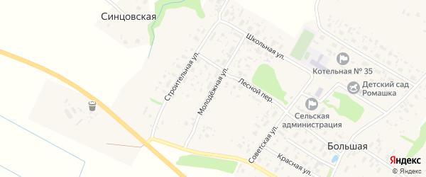 Молодежная улица на карте Большей деревни с номерами домов