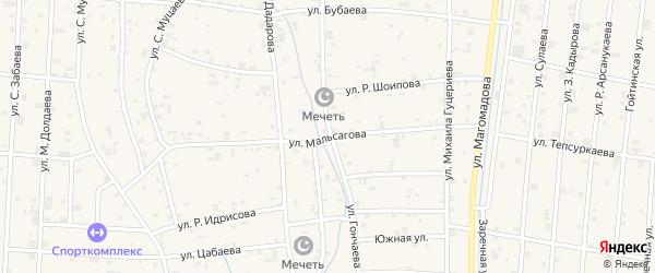 Улица Л-А.Мальсагова на карте села Гойты с номерами домов